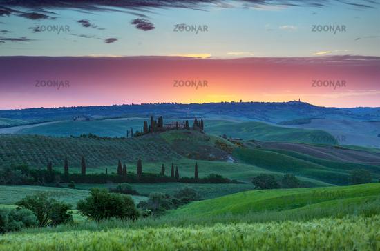 Tuscany landscape at sunrise in Italy