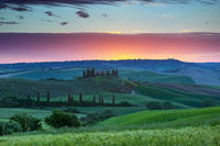 Tuscany landscape at sunrise in Italy