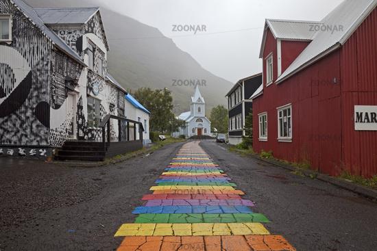 rainbow stripes on the way to the church, Seydisfjoerdur, East Iceland, Iceland