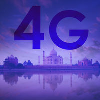 4G text on Taj Mahal India background.