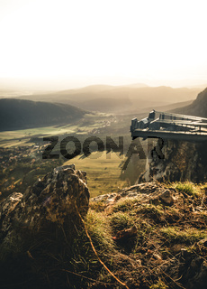 Mountain Peak Skywalk at the Hohe Wand in lower austria during sunset