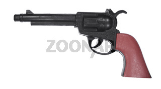 Isolated picture of a toy revolver on white background