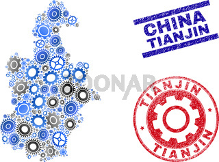 Gear Composition Vector Tianjin City Map and Grunge Stamps