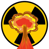 Nuclear Burst. Cartoon Bomb Explosion. Radioactive Atomic Power. Mushroom Cloud. Ionizing Radiation Sign.
