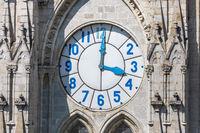 close up clock tower Basilica of Quito