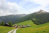Village Obermutten and Muttener Horn, mountain in Switzerland.