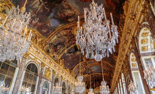 Paris, France, March 28 2017: Hall of Mirrors in the palace of Versailles, France
