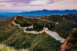 Beijing, China - AUG 12, 2014: Sunrise at Jinshanling Great Wall of China