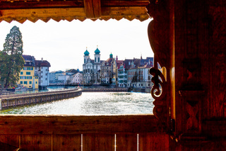 Historic Chapel Bridge over Reuss river in old town of Lucern, Switzerland