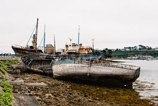 Old shipwreck in boat cemetery in Camaret-sur-mer