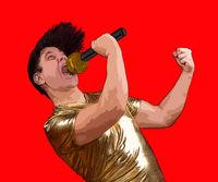 Crazy emotional man in golden shirt sing to mic.