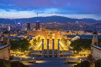 Barcelona Spain, city skyline night at Barcelona Espanya Square