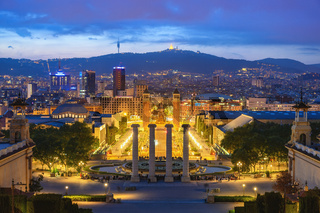 Barcelona Spain, city skyline night at Barcelona Espanya Square