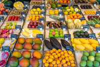 Exotic fruits for sale at a market in Munich, Germany