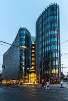 Modern glass office building skyscraper in Friedrichstrasse area in Berlin