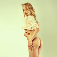 sexy cute blonde girl with nice butt