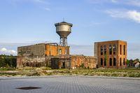 willebroek, Belgium - May 27, 2019:  Water tower on the old De Naeyer factory site in Willebroek