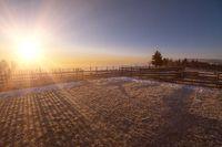 winter landscape during sunset