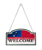 Samoa welcomes you! Old metal sign isolated