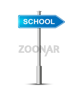 Blue sign that says SCHOOL on the post. road sign.