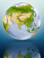 Nepal on globe