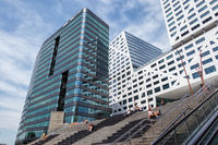 Facade modern office buildings near Dutch railway station Utrecht.