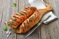 Baked  herb bread with Spanish sausage