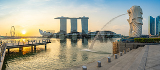 Panorama view of Merlion park with sunrise in Singapore city, Singapore