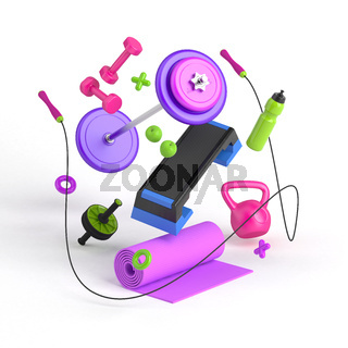 3d-illustration of the fitness equipment: step platform, weight, dumbbells, water bottle, jump rope, yoga mat, apples