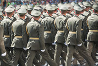 Army soldiers marching on military parade
