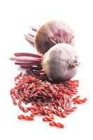 Tasty raw beetroot and beetroot pasta