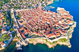 Town of Dubrovnik UNESCO world heritage site aerial view