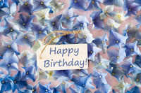 Hydrangea Flat Lay, Text Happy Birthday