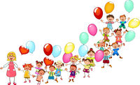 Happy kids with balloons on a walk