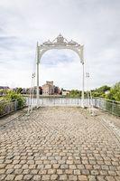 Klein Willerbroek, Belgium - May 22, 2019 - Remains of the Van Enschodt bridge where the allied troops crossed the river Rupel in WW2