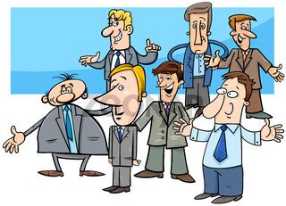 cartoon businessmen characters group illustration