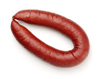 Top view of smoked beef sausage