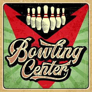 Retro advertising bowling poster. Vintage poster.