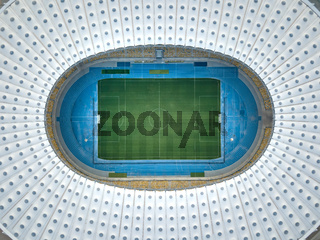 KYIV, UKRAINE - July 19, 2018. Top view of the empty NSC Olimpiyskiy STADIUM. Aerial view from flying drone.