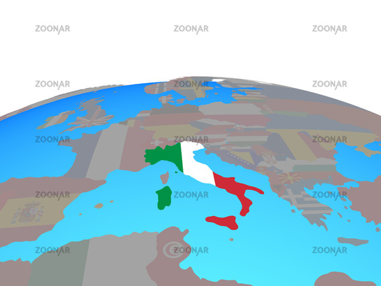 Map of Italy with flag on globe