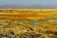 Sulphure rock formations in an acid brine pool, geothermal field of Dallol, Ethiopia