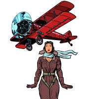 woman pilot of a vintage biplane airplane. isolate on white background