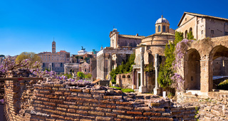 Historic Roman Forum in Rome scenic springtime view