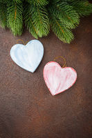 Two red handmade hearts