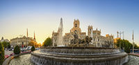 Madrid Spain, city skyline sunrise panorama at Cibeles Fountain and CentroCentro