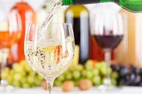Wein einschenken eingießen aus Weinflasche Weinglas Weißwein Weisswein Flasche Textfreiraum Copyspace