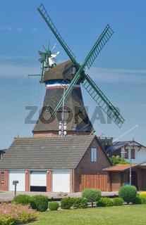 Windmuehle in Suederhafen auf Nordstrand,Nordsee,Nordfriesland,Schleswig-Holstein,Deutschland