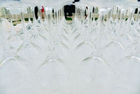 Business events background, catering company places cups and empty glasses to serve drinks.