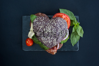 Heart shaped hamburger