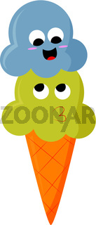 A happy blue and yellow ice cream, vector color illustration.